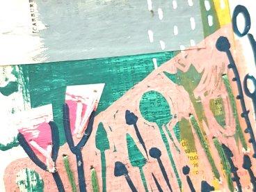 Collage and stitch seascape