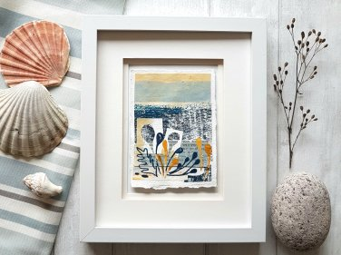 Framed collage seascape