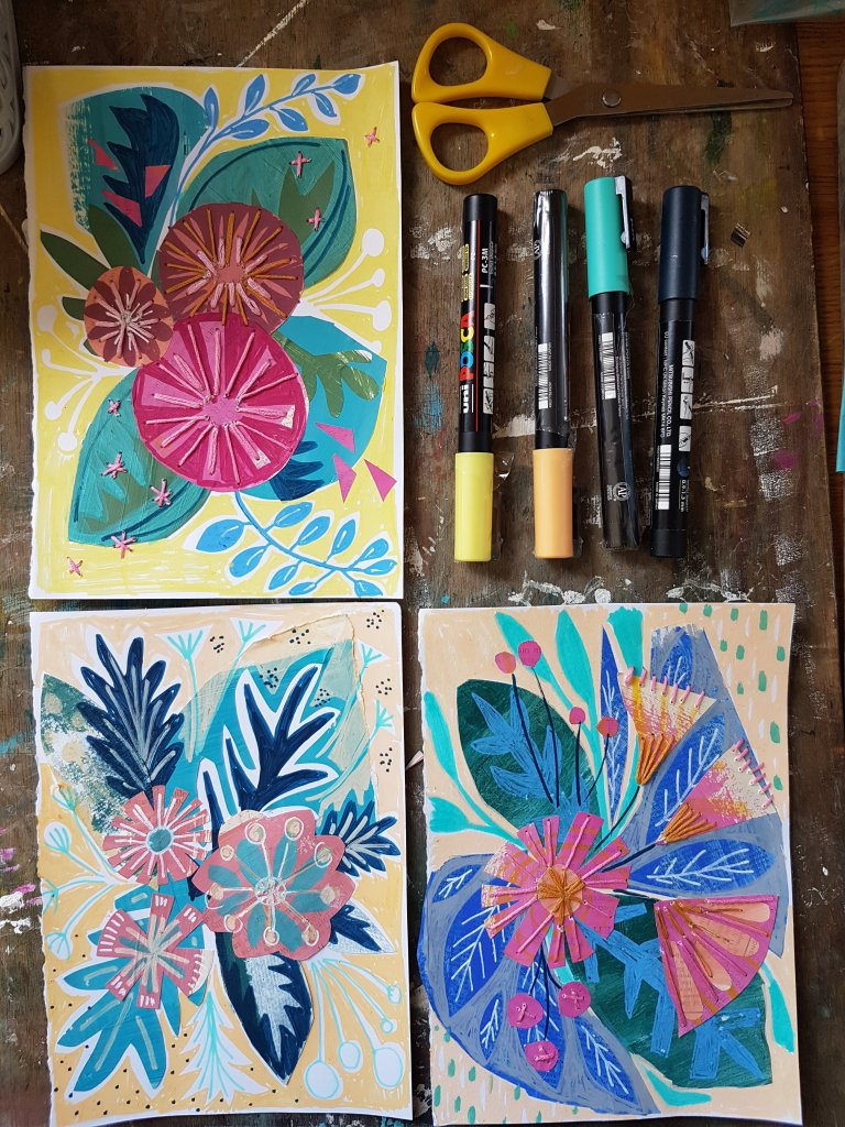bright florals with posca paint pens