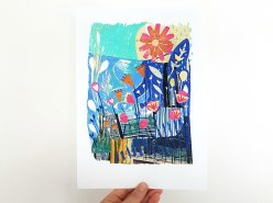 Into the Light - Bright and bold collage and stitch