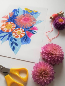 Abstract floral inspired wall art