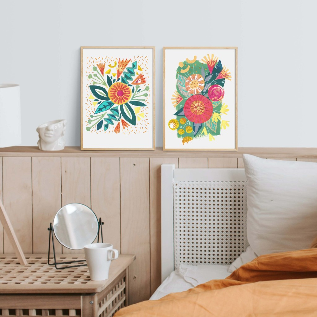 Bright Boho style floral bouquets - perfect to start a gallery wall or gift  one to a friend and one for yourself for Christmas or a special occasion
