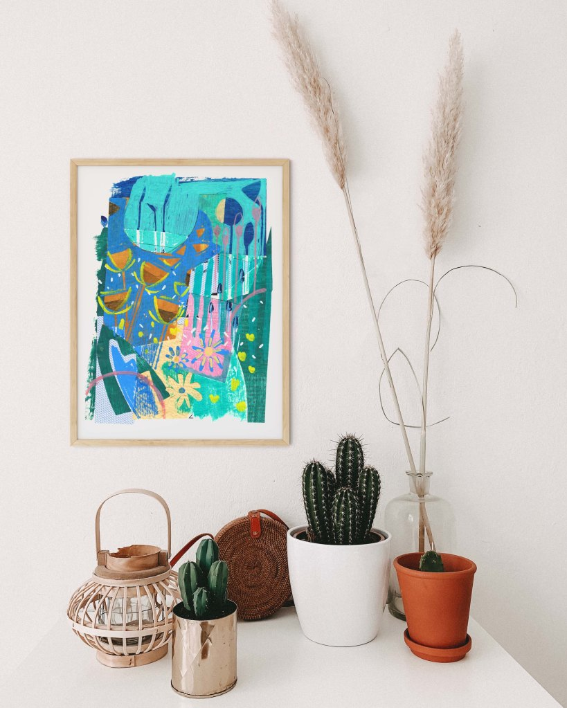 Bright contemporary landscape art print - the perfect way to brighten up your walls or gift to a friend as a reminder of sunnier times