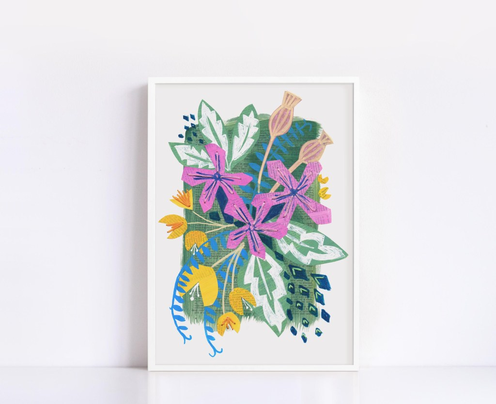 Bright floral bouquet using hand painted collage papers and embroidery stitch. Framed or unframed this makes a perfect gift for a flower of garden lover.